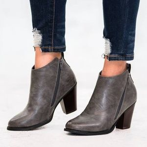 🍁 Distressed Gray Zipper Ankle Booties
